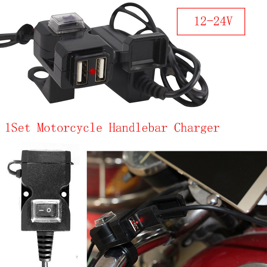 12V Dual USB Port Motorbike Motorcycle Handlebar Charger Waterproof Power Adapter Charger Accessories  #H