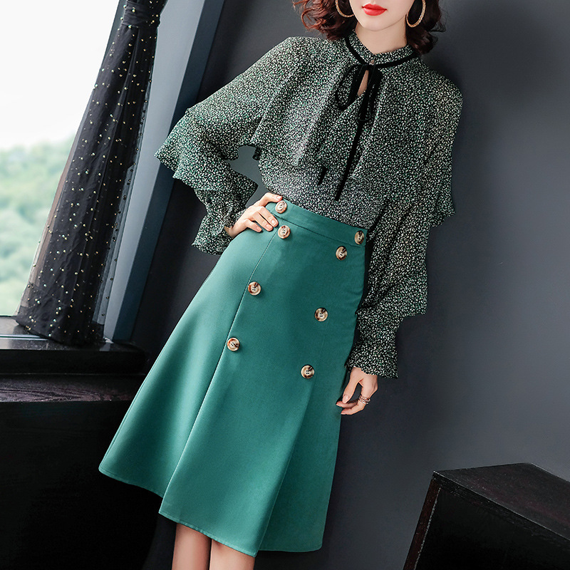 Elegant Chiffon Blouse Skirts Set 2 Piece Set Women Outfits Costume Matching Sets Spring Summer Two Piece Clothes LWL1707