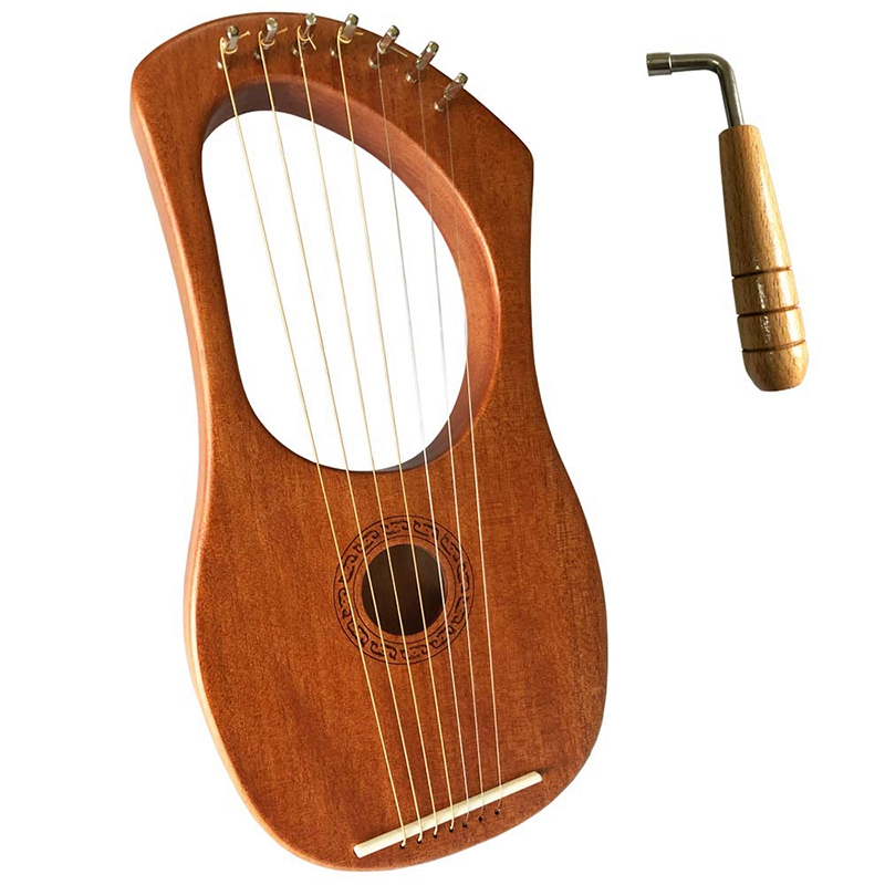 Orchestral Musical Instrument Harp Seven-Stringed Musical Instrument Liqin With Tuning Wrench