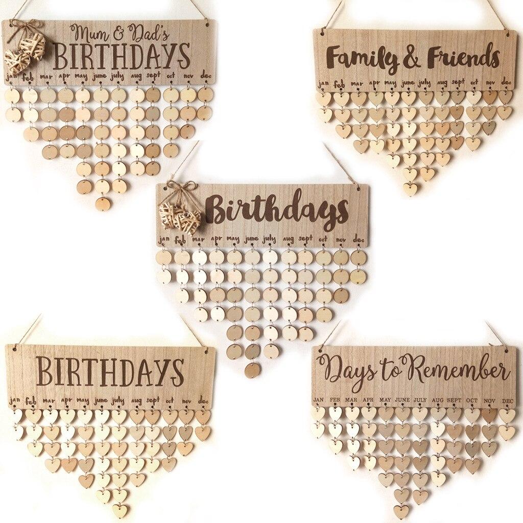 Familie und Freunde Holz Geburtstag Erinnerung Kalender Geburtstag Tracker Wand Hängen Plaque Bord Zeichen DIY Hause Dekoration Geschenke