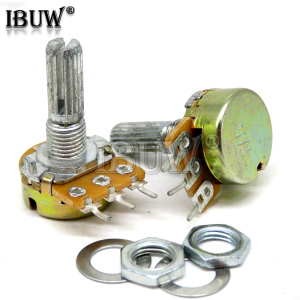 5pcs WH148 B1K B2K B5K B10K B20K B50K B100K B500K 3Pin 20mm Shaft Amplifier Dual Stereo Potentiometer 1K 2K 5K 10K 50K 100K 500K