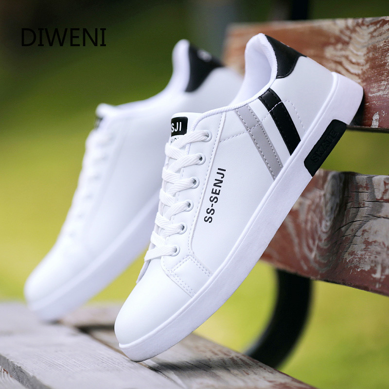 2020 Men's Shoes Sneaker New Small White Shoes Men's Black And White PU Casual Shoes Wild Fashion Classic Flat Men's Shoes B34