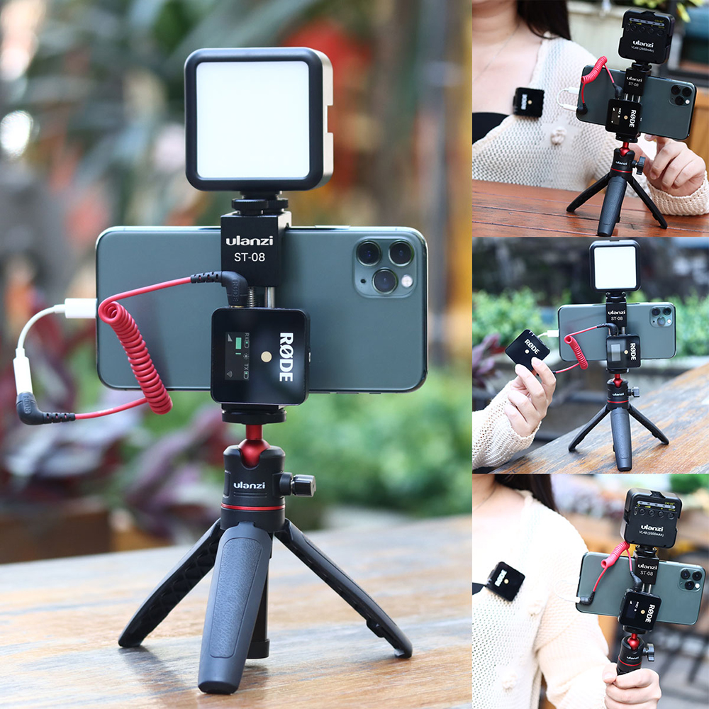 Ulanzi ST-08 Metal Phone Holder Clip With Cold Shoe Mount For Rode Wireless Go Microphone For IPhone 11 Pro Max Samsung Huawei