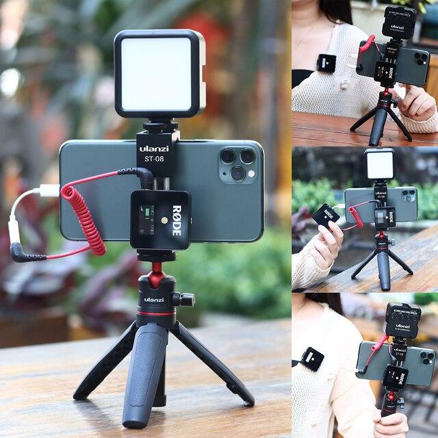 Ulanzi Soporte de Metal para teléfono móvil, Clip de soporte para teléfono móvil con zapata fría para micrófono Go inalámbrico Rode para iPhone 11 Pro Max Samsung Huawei