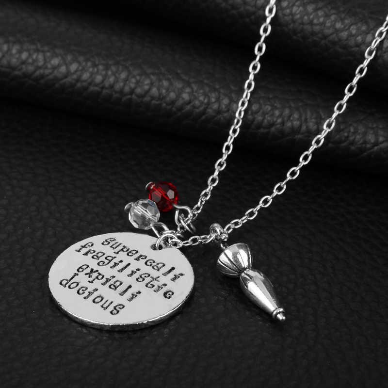 סרט מרי פופינס תכשיטי תליון שרשרת שחור אמייל מטרייה אבזר כף תיקי גבישי קסם נשים ילדה קולר מתנה