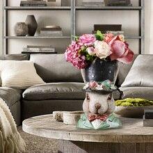 European Resin Rabbit Flower Pot Ornaments Outdoor Garden Balcony Figurines Crafts Home Livingroom TV Cabinet Furnishing Decor