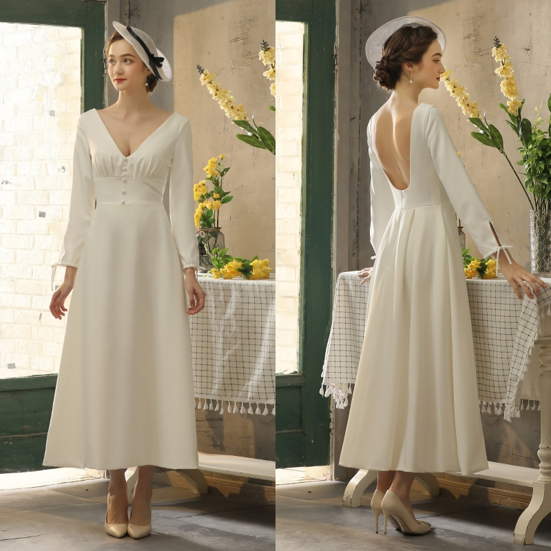 Vintage Simple Soft Satin Long Sleeves Tea-length Bride Wedding Dress BRIDAL Gown Evening Dress REAL PHOTO FACTORY PRICE