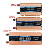 Inverter 500/1200/2200W DC 12V/AC 220V Voltage Transformer Pure Sine Wave Power Inverter Smart Double LCD display Car Power