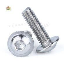 M3 m4 m5 m6 m8 m10 304 botão redondo, cabeça de arruela, 5-50 peças de aço inoxidável parafuso allen da soquete interna