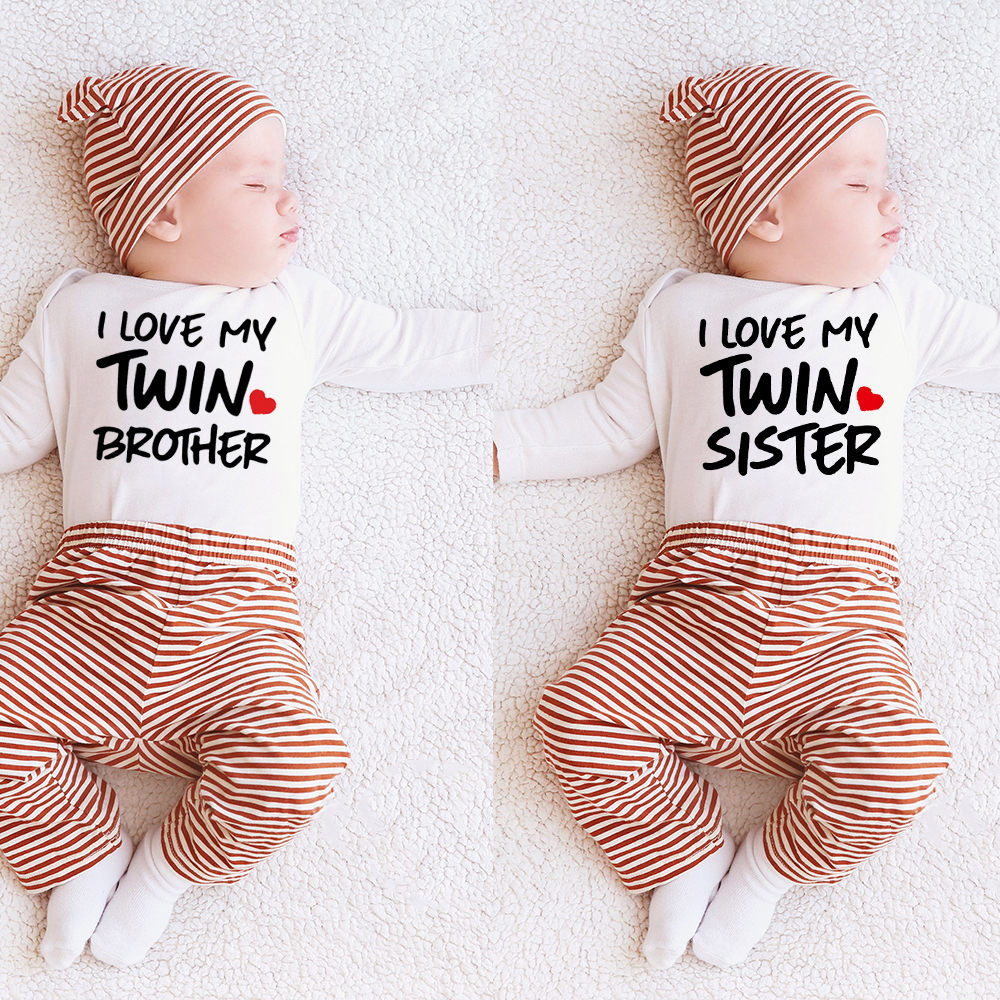 Newborn Infant Baby Boy Girls Bodysuit TWIN SISTER TWIN BROTHER Printing Jumpsuit Clothes Outfits Baby Twin Shower Gift