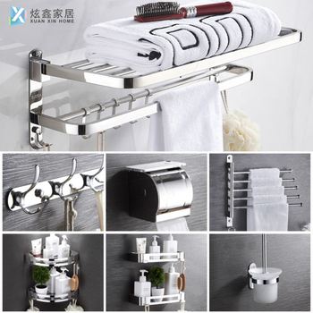 Bathroom Towel Rack Stainless Steel Free Punch Storage Rack Bathroom Hook Tower Hanger Soap Box Toilet Brush Diverse Accessories 1