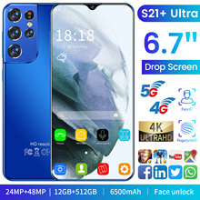 Global Version S21+Ultra 6.7 Inch Smartphone 12+512GB Face Unlock 6500mAh Full Display Dual SIM Android Mobile Phone