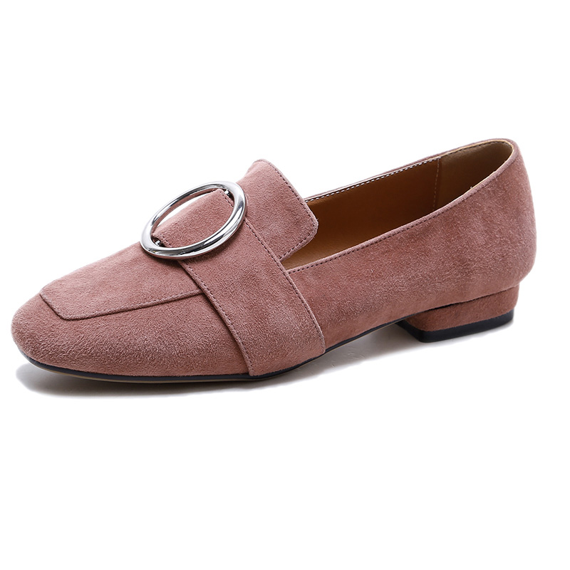 Women Flat Shoes Genuine Cow Leather New Square Toe Elegant Ladies C182 Fashion Woman Buckle Black White Metal Decoration Loafer