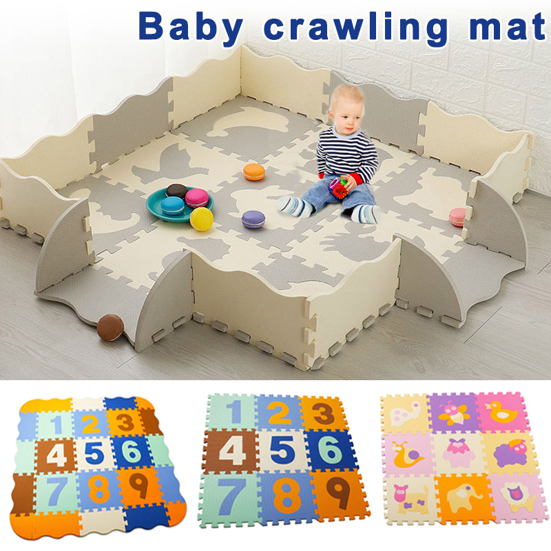 Puzzle Exercise Play Mats Set Crawling Mat Interlocking Foam Floor Tiles For Baby Toddlers BM88