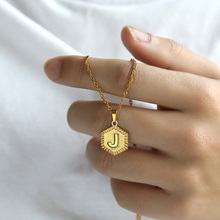 Collar de letra A-Z de acero inoxidable cadena de oro colgante inicial collares para mujeres Gargantilla del alfabeto joyería Bohemia regalo