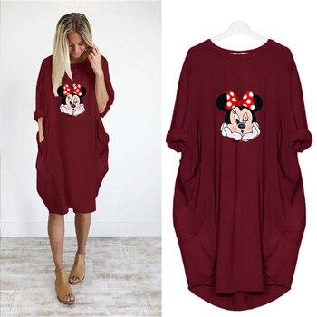 Dress Women Autumn  Cartoon Printing Pocket Loose Dresses Vintage Maxi Clothes Party Casual Dresses Woman Plus Size Dress 5