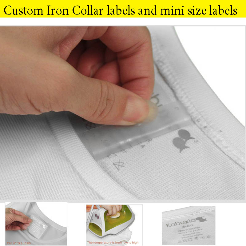 50pcs A Lot Custom Your LOGO Printed Heat Transfer Iron On Print Collar Labels Clothing Care Washing Labels T Shirt Collar Tags
