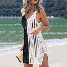 Robe de plage Sexy ajourée, sans manches, col en V, Crochet, Cover-Up pour les maillots de bain, 2021