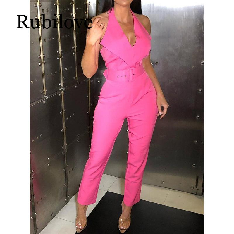 Rubilove Belted halter jumpsuit for women 2019 Sleeveless high waist pants long jumpsuits Sexy v neck rompers bodysuit womens ov in Jumpsuits from Women 39 s Clothing