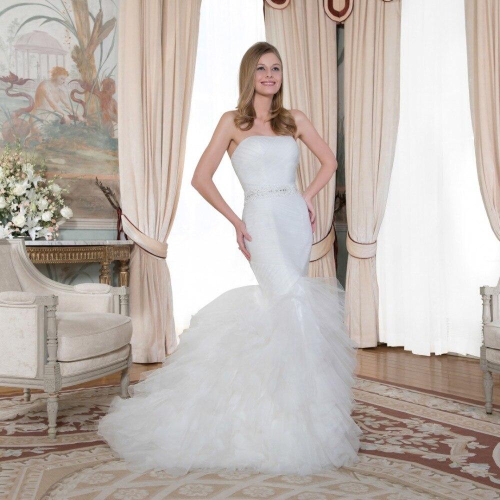 Berydress Strapless Wrap Soft Tulle Pleat Mermaid Bridal Dress Custom Fit Wedding Dresses Zip On The Back Winter Wedding