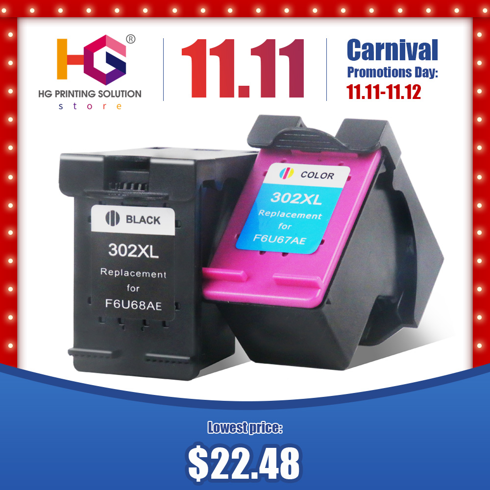QSYRAINBOW Remanufactured Cartridge Replacement for <font><b>HP</b></font> 302 HP302XL <font><b>Ink</b></font> Cartridge for <font><b>Deskjet</b></font> 1112 <font><b>2130</b></font> 2131 1110 1111 <font><b>printer</b></font> image