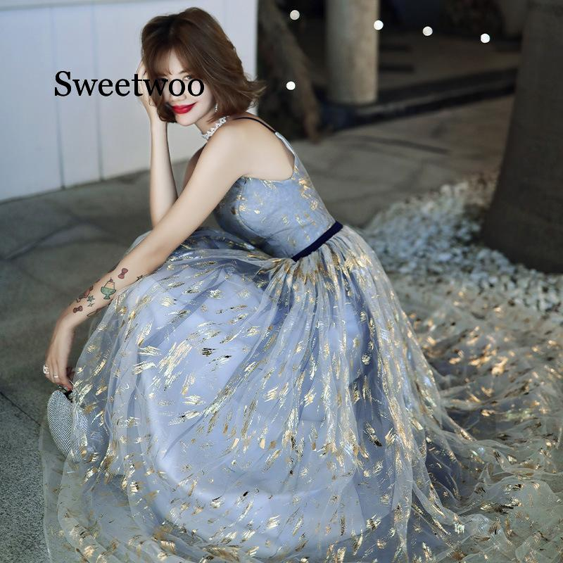 SWEETWOO 2020 High Quality Blue Gradient Mesh Dress Birthday Flower Dress Sexy Party Dress Fairy Temperament Star Long Dresses
