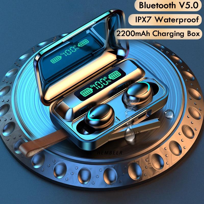 TWS Bluetooth 5.0 אוזניות 2200mAh טעינת תיבת אלחוטי אוזניות 9D סטריאו ספורט עמיד למים אוזניות אוזניות עם מיקרופון