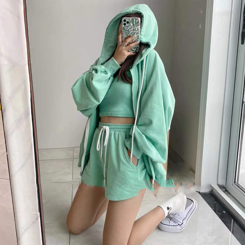 Summer 2020 Hooded Jacket + Camisole + Shorts Three-piece Suit