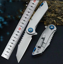 Best Pocket Folding Knife D2 alloy steel Blade hiking hunting knives tactical utility Flipper Steel handle throwing knive EDC
