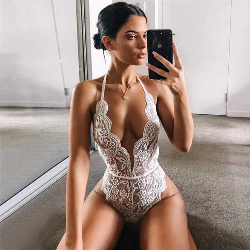 Sexy Hollow Lingerie Bodysuit Vrouwen Bh Set Kant Perspectief Diepe V Hot Erotische Ondergoed Een Stuk Halter Open Sexy Lingerie set