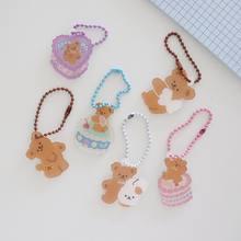 Llavero con colgante decorativo de dibujos animados para niñas, bonito llavero de oso y pastel de ángel coreano, mochila Airpods, accesorios creativos, adorno Kawaii