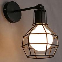 בציר מנורת קיר תעשייתי קיר אור LED פמוט אמריקאי רטרו קיר מנורת מתכת כיסוי אור עיצוב הבית תאורה קבועה