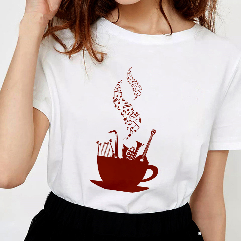 Music Note Printed T Shirt Women 2019 New Hipster T-shirt Female Fashion Harajuku White Tops T Shirt Clothing