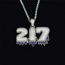 Custom Name Blue Drip Bubble Number 0-9 Letter Iced Out Pendant Chain Gold Silver CZ Pendant with Tennis Chain Hip Hop Jewelry(China)
