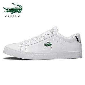 Image 4 - CARTELO גברים של נעלי ניו נעליים יומיומיות גברים של עור שטוח נעליים עם מחשוף סניקרס קטן לבן נעליים לנשימה