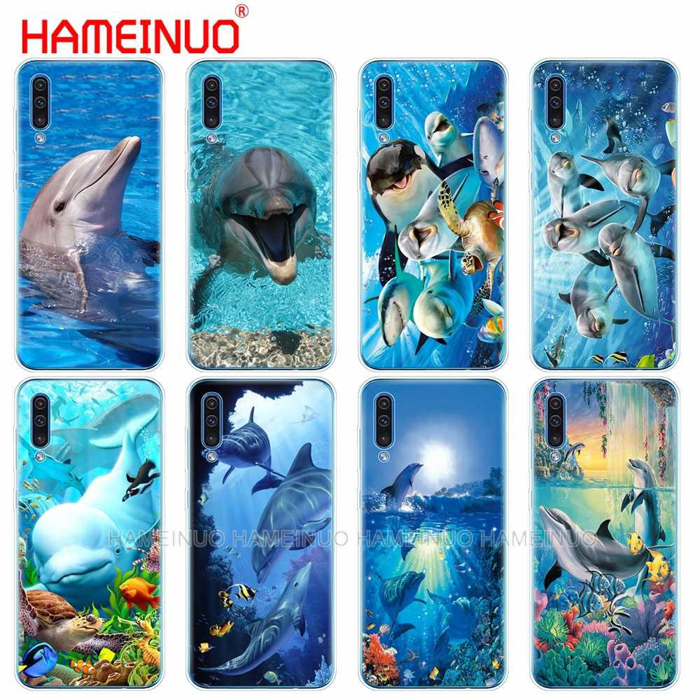 Caso della copertura del telefono del silicone per Samsung Galaxy S10 E PIÙ A10 A20 A30 A40 A50 A70 A10E A20E M20 oceano delfino di Ballo E di Salto