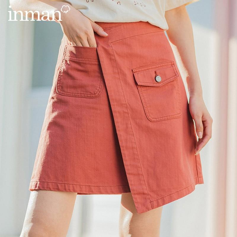 INMAN 2020 Summer New Arrival Literary Pure Cotton Irregular High Waist Pure Color Temperament A-line Skirt