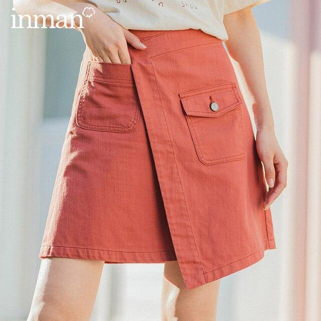 INMAN 2020 Summer New Arrival Literary Pure Cotton Irregular High Waist Pure Color Temperament A line Skirt