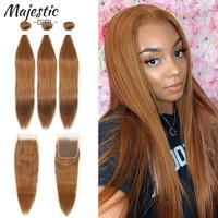 99J Red Burgundy Bundles With Closure Brazilian Straight Human Hair Weave Bundles With Closure Remy Human Hair Extensions