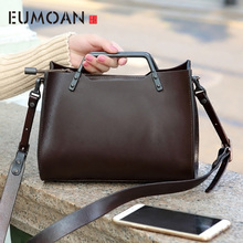 EUMOAN the first class of leather cowhide handbags retro tannery metal portable Messenger bag minimalist female