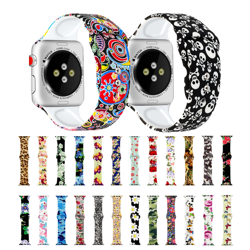 Printed Silicone Strap for Apple Watch 38mm 42mm 40mm 44mm Soft Band Cartoon Sport Woman Men Bracelet for iwatch Series 5 4 3 2 image