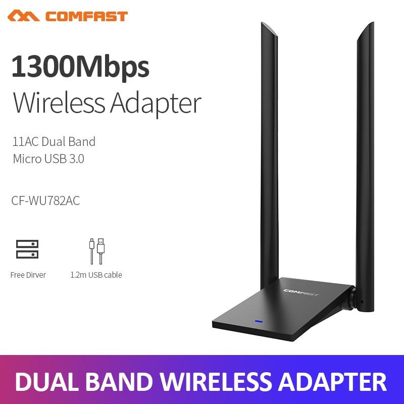 Wi-Fi-адаптер COMFAST, 1300 Мбит/с, 802.11ac, 5,8 ГГц, USB 3,0