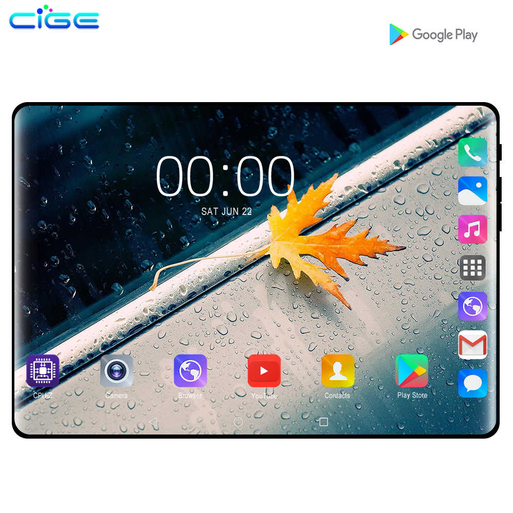 Cige 10.1 Inci Tablet PC Android 9.0 3G 4G Octa Core 6GB RAM 128GB ROM GPS FM Bluetooth Tablet Telepon 10 IPS 1280X800 Hadiah