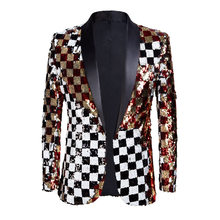 2020 Brand New Men Double-sided Colorful Plaid Red Gold White Black Sequins Blazer Design DJ Singer Suit Jacket Fashion Outfit(China)