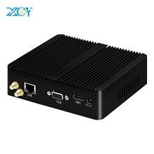 XCY Fanless Mini Pc Intel Celeron j1900 Win Windows 10 7 Linux Thin Client Minipc Pfsense Micro Lan Port Tv Desktop Computer NUC