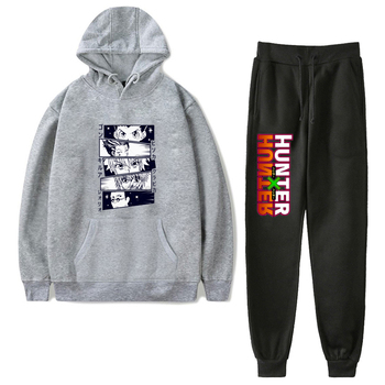 Men Streetwear Hoodie Set Tracksuit Sportswear Sets Hoodies Pants Suit Hunter X Hunter Kurapika Gon Killua Leorio Hisoka Hoodies gon volume 2