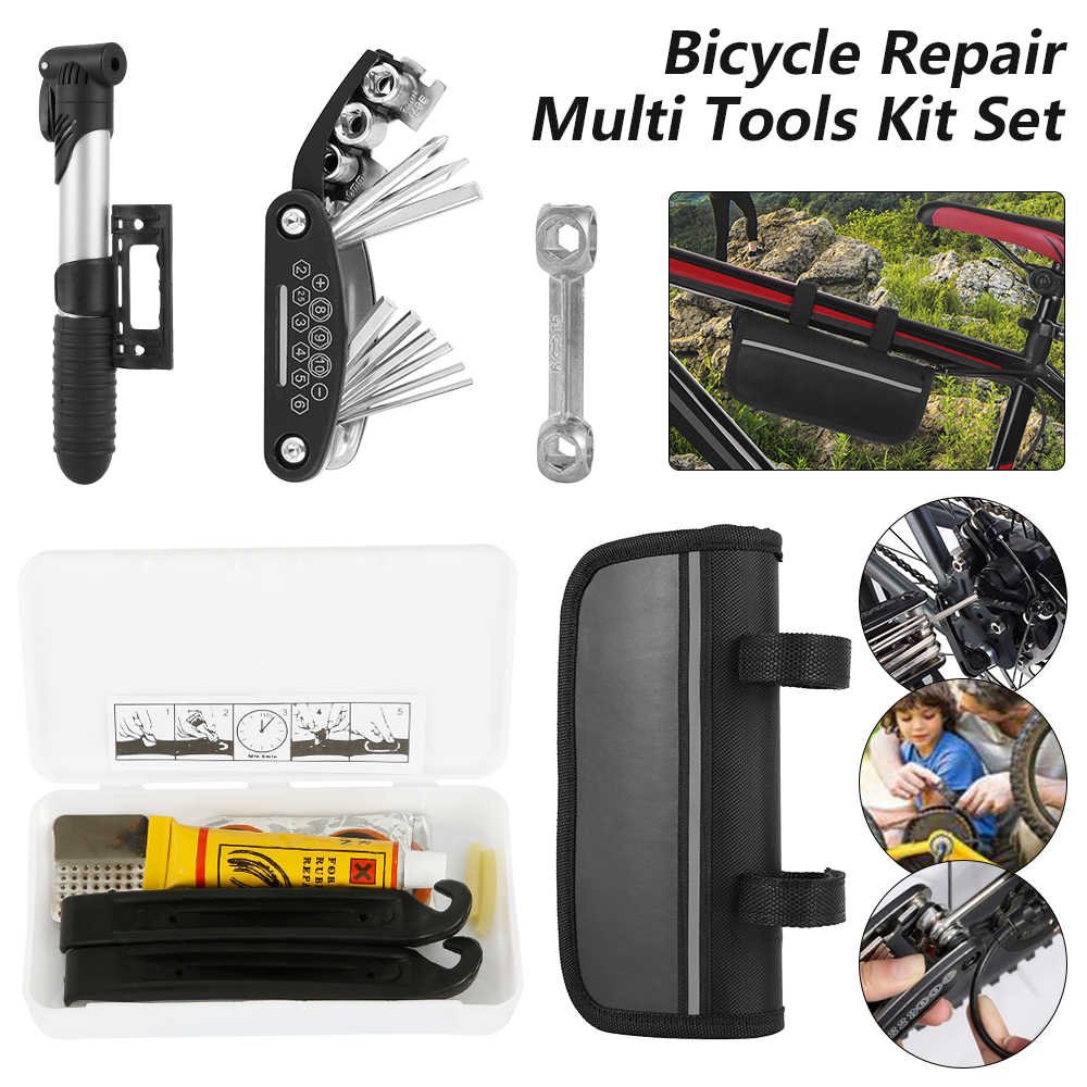 Bicycle Repair Tool Kit Sets Mountain Bikes Cycles Punctures Tyres Pump with Bag