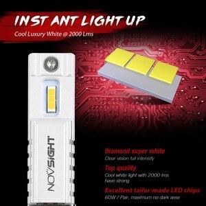 NOVSIGHT светодиодный противотуманный светильник H11/H8/H9/H16JP H7 H3 H1 9005/HB3 9006/HB4, автомобильный головной светильник, 2000 лм, 6000 К, 60 Вт