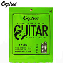 Orphee TX620 010-047 Acoustic Guitar Strings Hexagonal core+8% nickel Bronze Bright tone Extra light guitar Accessories martin m170 80 20 bronze round wound extra light acoustic guitar strings 010 047