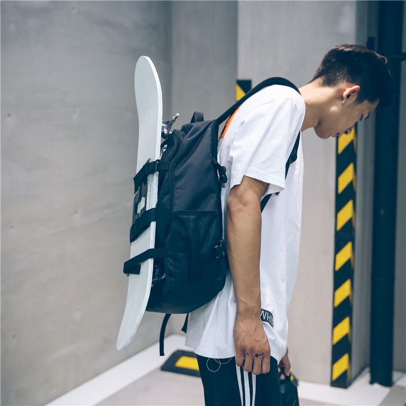 2019 New Oxford Fabric Double Rocker Bags Skateboard Backpack Lovers Bags Black Students Bags Skateboard Bags